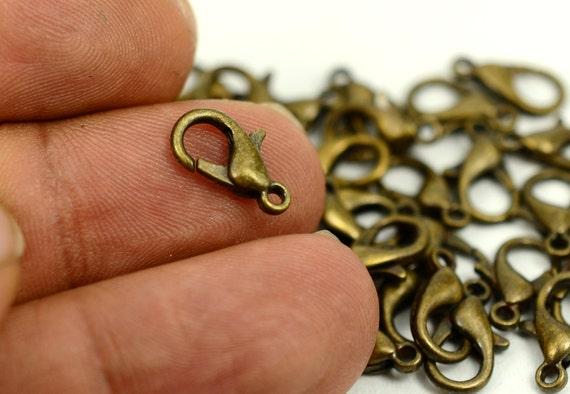 E091 8.5x5mm Brass Parrot Claps 12 Raw Brass Lobster Claw Clasps