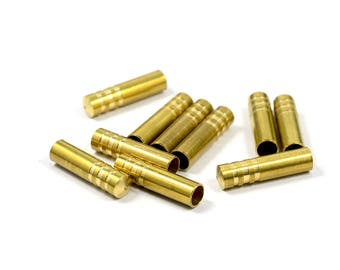 20 Pcs. Raw  Brass  4.5x18 mm (inside diameter 3.60 mm ) Round Aglet ,  Cord end Finished  Findings