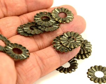 125 Pieces Antique Brass 19 mm Round 2 Hole Charms Findings