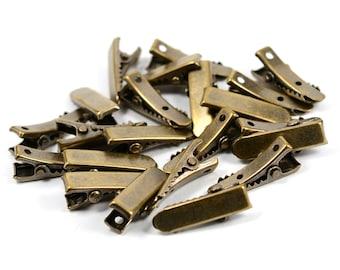 100 Pcs. Antique Brass 7x22 mm Alligator Hair Clips Connectors