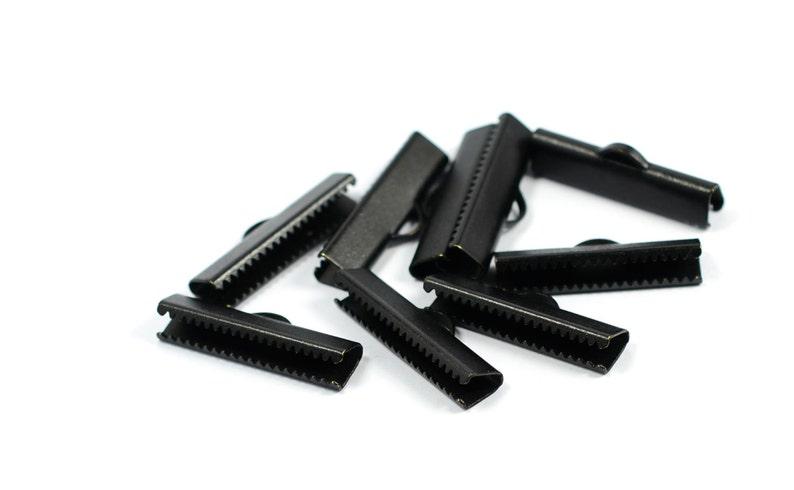 Ribbon Crimps End Finished Connectors Black Matte  1 100 Pcs 25 mm