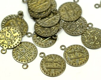 50 Pieces Antique Brass 13 mm Round Disc