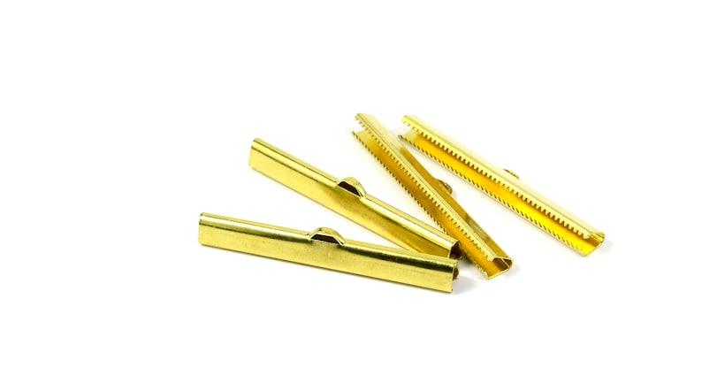 6x50 mm Ribbon Crimps End Connectors Jewelry Supplies Raw Brass Ribbon Crimps