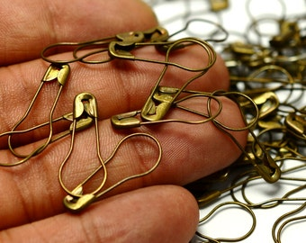 50 Pieces Antique Brass 23x9 mm Pear Safety Pin