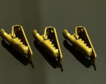 10 Pieces   Raw Brass 6x20 mm Alligator Connector