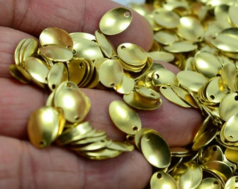 1000 Pcs. Raw Brass 7x12 mm Egg Shape 1 Hole Cambered Findings