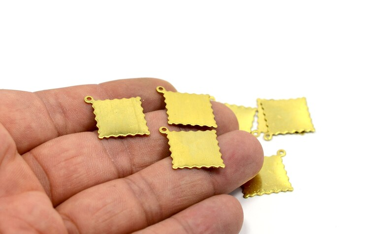 20 Pcs Personalized Tag  C82 Raw Brass 16x16 mm Square 1 Loop Blanks