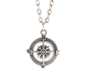 Compass necklace silver 60cm