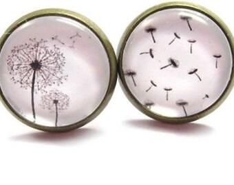 Blow Flowers Glass Cabochon earrings