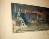 Wallace Nutting Antique Hand Colored Original Signed Photograph Lady Sewing by Fireplace