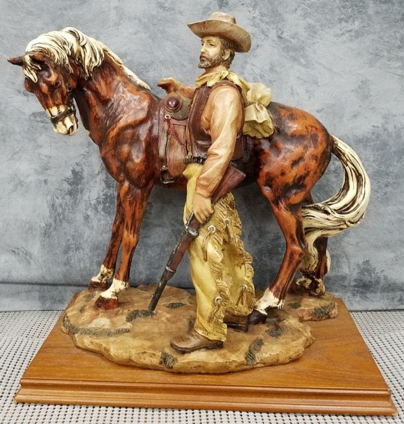 Western Art Cowboy Holding Gun Bronze Sculpture Statue Home Office Decor Figure