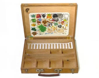 Wooden Paint Box with Palette Artist Paint Box 1970s Drawing Painting Bourgeois Ainé Brand