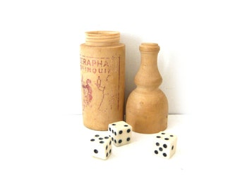 Advertising Wooden Bottle Dices Box St Raphaël Quinquina Shaker Dices with 3 bone dices 1930s