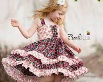 "Buy 2 Get 1 Free...Sasha Triple Ruffle Reverse Knot Girls Dress Instant Download PDF Sewing Pattern, 3-6M to 10 Plus 18"" doll"