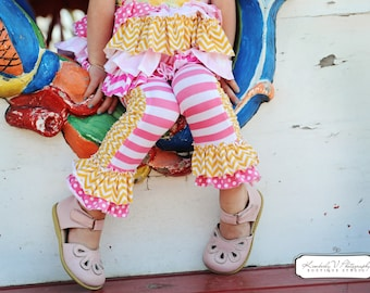 Buy 2 Get 1 Free...Instant Download PDF Sewing Pattern Girl's Ruched Ruffled Leggings for Stretch Knits Sz 0-3M to 12