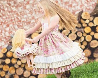 "Buy 2 Get 1 Free....Sasha Triple Ruffle Reverse Knot Girls Dress Instant Download PDF Sewing Pattern, 3-6M to 10 PLUS 18"" doll"
