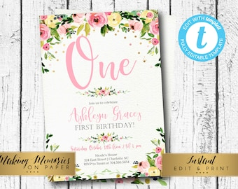 Kids birthday invite etsy pink first birthday invitation kids birthday invite first 1st instant download watercolor floral pink invite edit yourself flowers filmwisefo