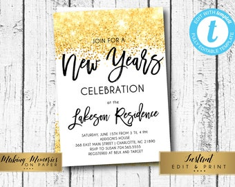 new years party invitation new years eve invite gold glitter new year invitation ring in the new edit yourself templett instant download