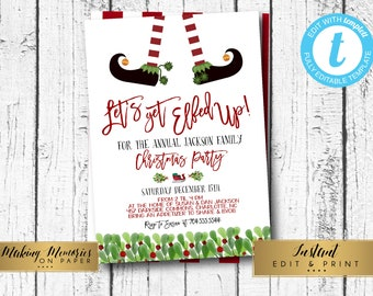 christmas party invitations instant download etsy