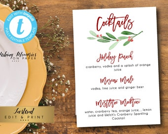 christmas cocktail menu greenery drink menu holly menu christmas drink menu bridal shower instant download templett