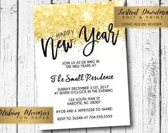 new years invitation new years party invitation new years eve invitation gold glitter instant download editable pdf