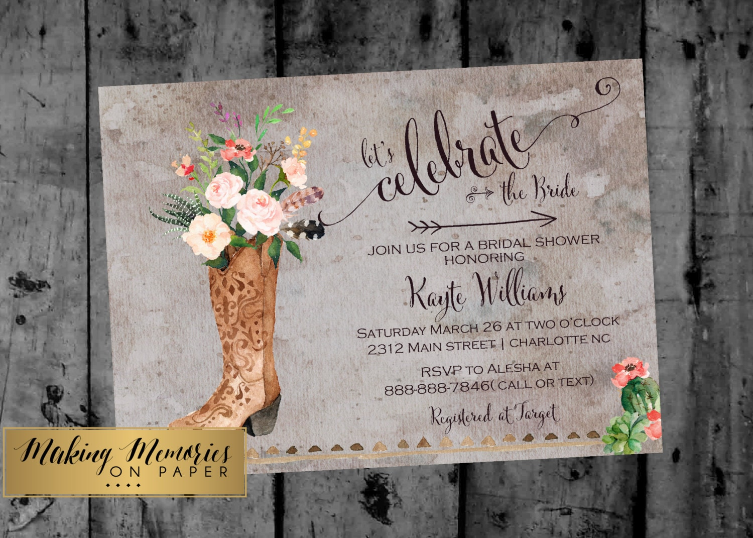 Boots Wedding Invitations: Boho Cowgirl Bridal Shower Invitation Rustic Boots