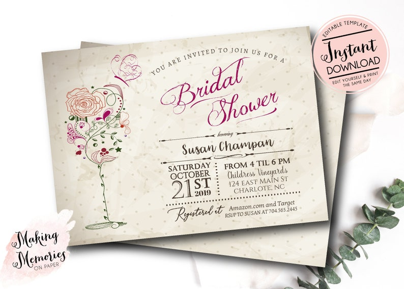 graphic regarding Bridal Shower Printable Invitations called Traditional Wine Butterfly Bridal Shower Printable Invitation, Wine Bridal shower, Brunch and Bubbly, Bridal Shower, Wine Shower, Wine Tasting