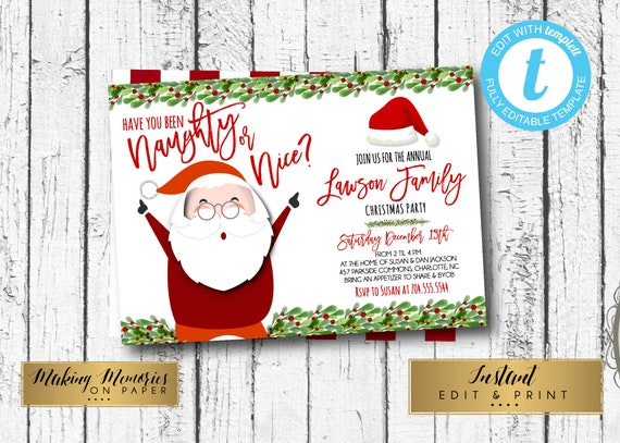 Naughty Or Nice Christmas Party Invitation Adult Christmas Etsy