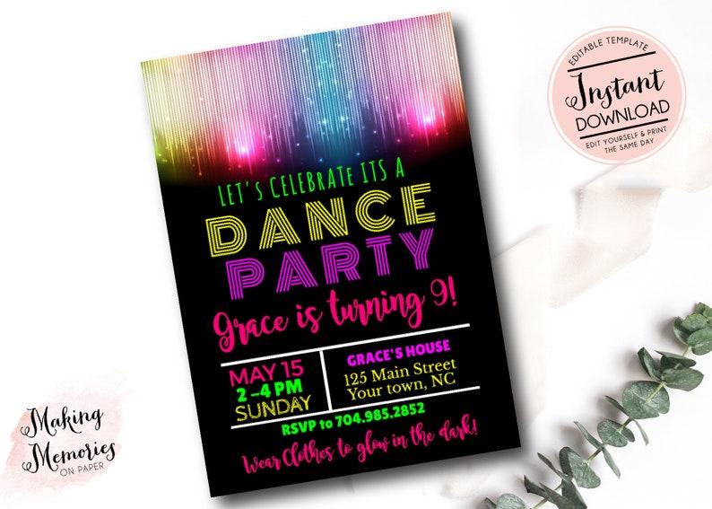 Glow in the dark invitation, glow invite, glow invitation, Just Dance,  Dance Party, TWeen, Template, Instant download, Teen invite, dance