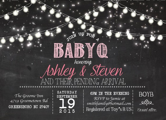 baby q lights vintage chalk board printable party invitation babyq