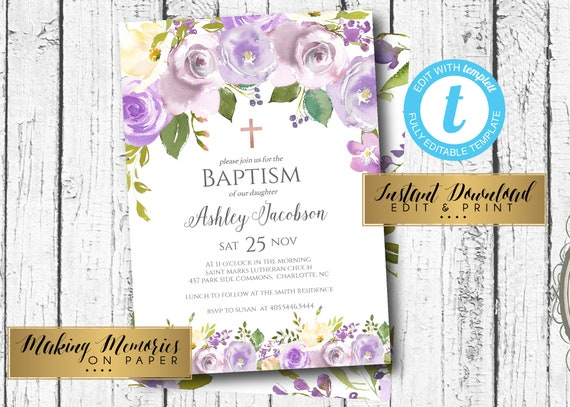Lavender baptism invitation first communion invite instant etsy image 0 solutioingenieria Image collections