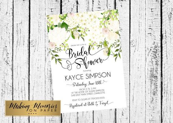 white hydrangea bridal shower invitation watercolor flowers etsy