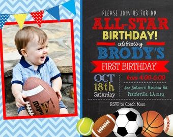 Chalk All-star Sports Birthday Printable Invitation, Sports birthday invitation, Sports Birthday invite, soccer, football, baseball, basket