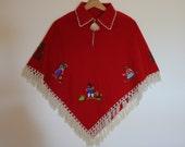 Vintage Red Wool Poncho