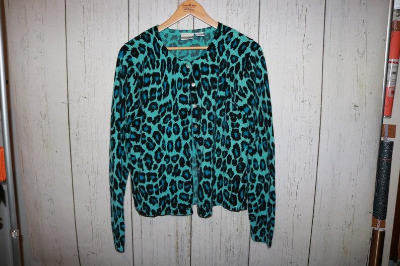 Vintage Y2k 90s Cheetah Blue Black Animal Print Pattern Button Up Cardigan