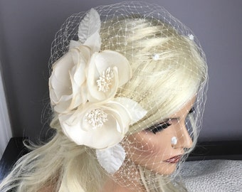 Bridal Birdcage Blusher Veil, Silk Flowers Birdcage Russian/French Veil, Champagne/Ivory/White Flower, Bridal 50's Style, Quick Shipper