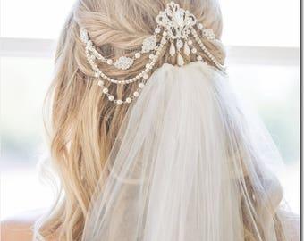 Bridal Rhinestone Headpiece, Halo Vintage Wedding Headband, Backside Or Forehead  Head Chain, Silver Headpiece, Pearl Headband, Custom Veil