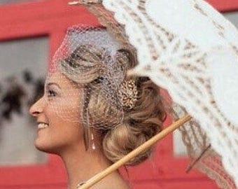 Rose Gold Brooch Birdcage, Vintage Style Brooch Birdcage, Bandeau Birdcage, Blusher Veil, Detachable Veil, Bandeau Blusher, Wedding Birdcage