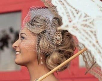 Bridal Rose Gold Brooch Birdcage Veil, Wedding Blusher or Bandeau  BirdCage Veil,  Detachable 2 in 1 - Custom Order, Quick Shipper 2-3 Days