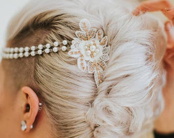 Bridal Pearl Head Chain, Small Pearl Rhinestone Brooches, Bohemian, Halo, Rhinestone Rosary Chain, Forehead-Backside, Lace Pearl Headband