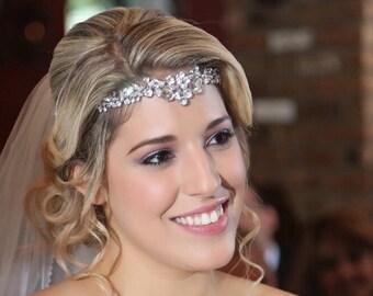 Bridal Rhinestone Forehead Tiara, Bridal Rhinestone Headpiece, Bride Forehead Piece, Wedding Forehead Band, Backside Hairpiece, Hair Jewelry