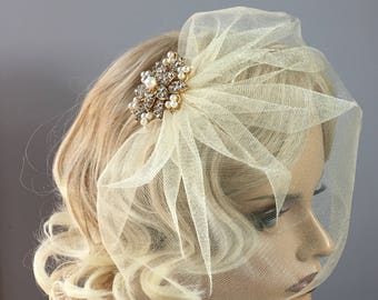 Gold/Champagne Tulle Blusher -Vintage Gold Pearl Brooch- Bridal Custom Tulle or Netting-Birdcage, Blusher or Bandeau Style