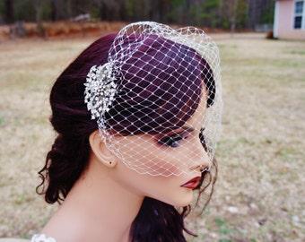 Silver Or Rose Gold Vintage Style Brooch Birdcage, Bandeau Or Blusher Veil, Bride Detachable Comb, Bandeu Blusher-