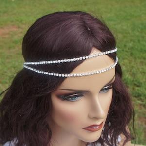 Boho- Halo Headpiece Flower Lace Embroidery Bridal Rhinestone Chain Headpiece Ivory Lace Flower Chain ~LEAH~ Bridal Chain Headband