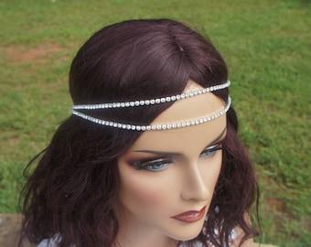 Double Rhinestone Chain Headband, Bohemian, Crystal Chain Headband, Bridal Headband, Silver/Gold/Champagne/Gunmetal/Red/Green, Bridesmaides,