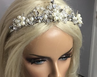 Celtic Crown, Pearl Rhinestone, Bridal Headpiece, Woodland Crown, Renaissance Tiara