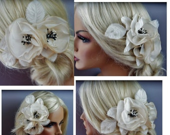 Champagne Nude, Ivory, White -Silk Flowers , Choose Your Center-Champagne- mixed with black, or your choice
