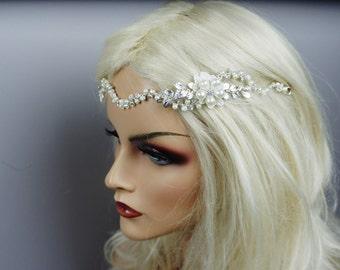 Leaves/Pearls/Rhinestone/Wire- Romantic/Whimsical Bridal Headband, Bohemian Bridal Head Piece,   Wedding Hair Accessory