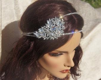 Bridal Crystal Brooch Headband, Big Crystal Brooch Piece, Silver or Rose Gold 3 inch Brooch, Vintage headband, Bridal Rhinestone Headband
