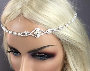 Simple Art Deco Bridal Rhinestone Headband, Rosary Pearls  Head Chain, Bohemian, Halo,  Different Styles Headpiece ~ Ella~